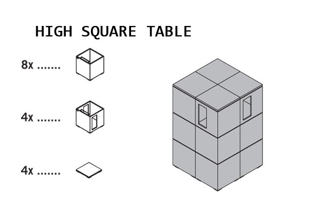 Pixel High Square Table